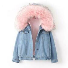 Women's Denim Fur Collar Hooded Jean Jacket Winter Warm Coat Fleece Lining Coats