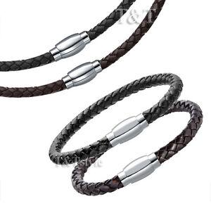 TT 4mm Leather S.Steel Magnet Buckle Collar Necklace+Bracelet Set For Children