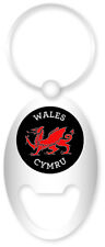 Welsh Red Dragon with Wales and Cymru Oval Bottle opener Keyring Charm