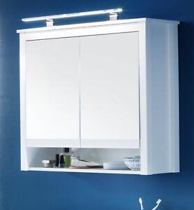 Spiegelschrank Bad Spiegel Schrank weiß 80 cm Badezimmer Regal Landhausstil Ole