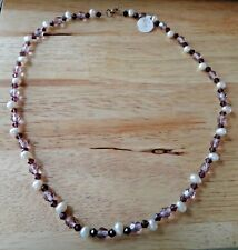 """18"""" String 6mm Violet 4mm Amethyst crystal White Pearls Necklace Sterling Silver"""