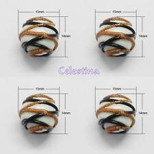 3 x 14mm White Glass - Black / Bronze Sparkle Line Design Lampwork Beads - GB49W