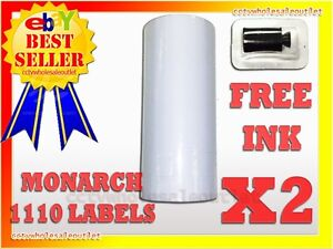 2 SLEEVES WHITE LABEL FOR MONARCH 1110 PRICING GUN 2 SLEEVES=32ROLLS
