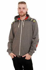 MENS INDIE EMO RETRO AZTEC PATCH FLEECE HOODED TOP CHARCOAL GREY SIZES XS S M