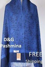 DG Women's Pashmina Scarf Shawl~Paisley Black Royal Blue;Silk Cashmere.Soft*027
