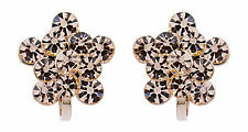 Hanna Gold Clip On Earrings stud earring with gold rhinestone crystals