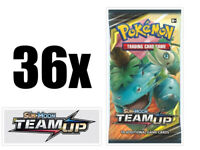 Pokemon Team Up 36 Booster Pack Lot = 1 Booster Box Sun & Moon Pokemon TCG