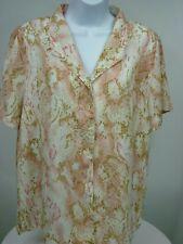 Alfred Dunner Womens Size 14 Blouse Snake Pink Short Sleeve V-Neck Button-N53@