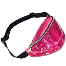 Women Iridescent Hologram Fanny Pack Shiny Metallic Waist Bag Punk Girl Fashion