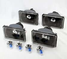 "FOUR 4x6"" Halogen H4 Black w/ White LED DRL Glass Headlight Conversion Oldsmob"