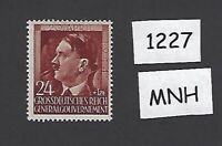 #1227     MNH 1944 stamp 24 Gr + 1 ZL / Adolph Hitler / Poland / Third Reich