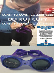 Missy Franklin USA Olympic gold swimmer signed swim goggles proof Beckett COA.