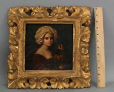 18thC Antique Portrait Oil Painting Woman Turban & Fruit Carved Gold Gilt Frame
