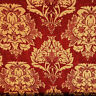 """GOLD RED DAMASK HEAVY CHENILLE UPHOLSTERY BROCADE FABRIC 58"""" BY THE YARD"""