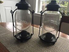 2 Yankee Candle Mason Jar Tealight Hanging Lantern Country Farmhouse Decor EUC
