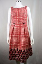 Merona size 6 Red Fit & Flare Houndstooth Sleeveless Dress NEW