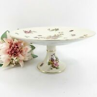 Vintage Lefton Cake Stand Pedestal Plate Hand Painted Butterflies Flowers Gold