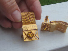 VINTAGE MID CENTURY CUFFLINKS FUN 1960'S BRUSHED GOLD MESH SIDES