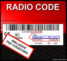 Radio Code passend für Becker INDIANAPOLIS PRO BE7950 BE7951 BE7952 BE7953 7955