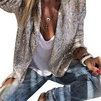 Women Sequin Blazer Coat Jacket Tops Ladies Open Cardigan OL Suits Long Sleeve