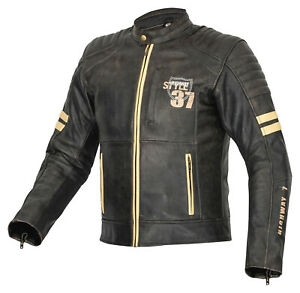 Classic Leather Jacket High Quality Chopper Biker Vintage Grey Size M- 4XL
