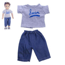 "Gray T-shirt Jeans Pants Casual Clothes for 18"" American Girl Boy Logan Doll"