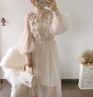 Royal Retro Womens Mesh Floral Long Dress Lace Flowers Puff Sleeve Party Dress