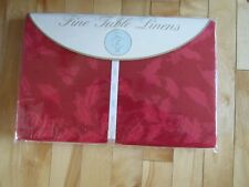 """NEW Lenox Fine Table Linens """"Holly Jacquard""""  60""""x104"""" Oblong Red Tablecloth"""