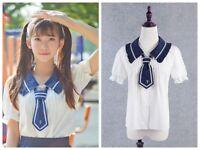 Women Summer Short Sleeve Blouses Soft Chiffon Sailor Collar w Tie Lolita Shirt