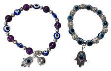Lot de 2 bracelets élastique motif main de fatima et oeil bleu. AZ1.