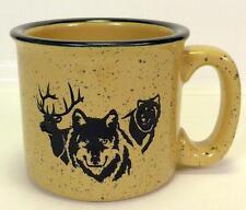 Wolves Elk Wolf Stoneware Coffee Cup Mug Tan Beige Speckled Laser Cut Design