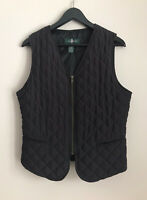 Hunt Club Size M Women's Quilted Zip Up Black Vest Lined Insulated Crimped Back