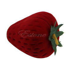 New Strawberry Flocking Rings Jewellry Box Earring Stud Ear Case Gift Container
