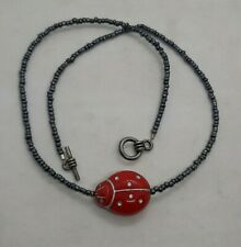 Vintage Seed Bead & Art Glass Red Ladybug Pendant Choker Necklace Toggle Clasp