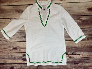 STS Sail to Sable White Green Ric Rac Tunic Dress 4