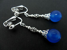 A PAIR OF BLUE  JADE DANGLY  CLIP ON EARRINGS. NEW.