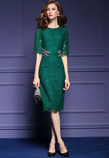 Fashion Women's Green Black Lace Beaded Dragonfly Cocktail Party Midi Dress