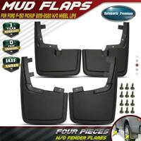 Fits Ford F-150 2015 - 2020 WITHOUT FENDER FLARES Splash Guards Molded Mud Flaps