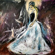 Dancing Girl - Pastel Charcoal Figure Painting on Canvas Art Wall Print 24X24