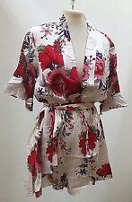 Overall-kurz-Damen, Gr. 40, Weiß mit Blumenmuster, reine Baumwolle, Bindegürtel