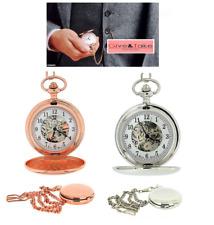 """Reloj De Bolsillo Boxx Hombre Esqueleto Mecánico Rosa Dorado/Plateado 14"""" bchain"""