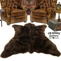 Brown Bear Skin Rug - Plush Shag Faux Fur - Bonded Suede Lining - Made in USA