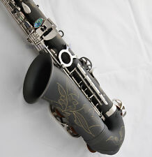 Satin Black nickel Alto Saxophone Eb High F# Sax Abalone Key With Case 10Pc Reed