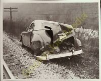 Vintage Photo of Car Accident along the Train Tracks Possibly Hit by Train?