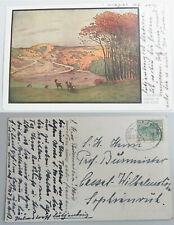 Künstlerkarte 1913, geschrieben auf Gut HELMSTORF, von BUCHWALDT ? R: Burmeister
