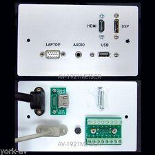 Av aluminium mur / plaque de face, VGA, prise jack audio, HDMI, DisplayPort, prises usb