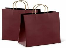 50 Purple Kraft Paper Bag Party Shopping Gift Bags With Handles 16x6x12