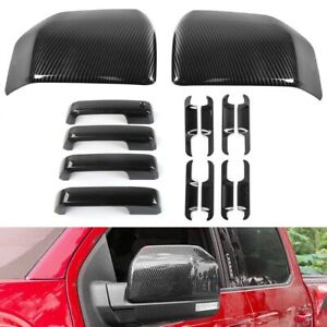 For 2015-2020 Ford F150 Carbon Fiber Look Mirror + 4 Door Handle + Bowl Covers