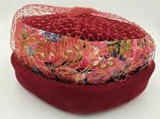Vintage Hat * Pillbox Style * Maroon (maybe Velour) * Floral Band * Netting