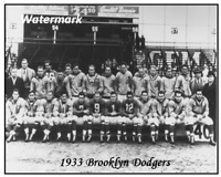 NFL 1933 Defunct Brooklyn Dodgers Team Pic Black White 8 X 10 Photo Picture